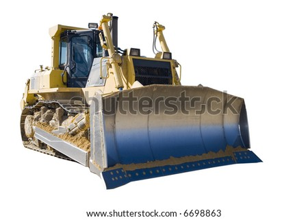Bulldozer isolated on white background - stock photo