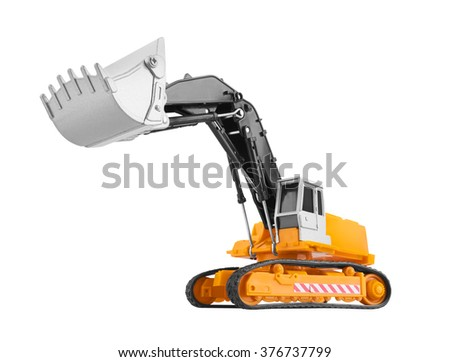 Bulldozer isolated on white background. Model. - stock photo