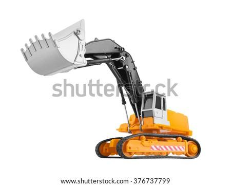Bulldozer isolated on white background. Model. - stock photo