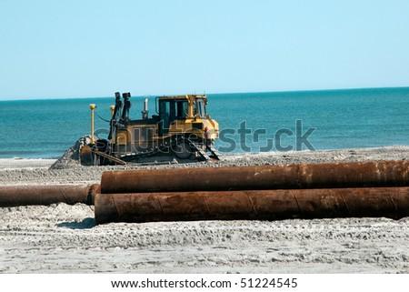 Bulldozer moving Sand - stock photo
