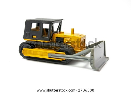 bulldozer of yellow color Isolated on a white background, - stock photo