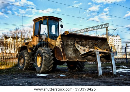 Bulldozer on a building site. Oil painted post production. - stock photo