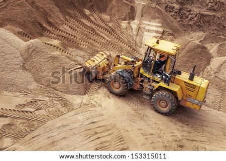 bulldozer on a construction site - stock photo