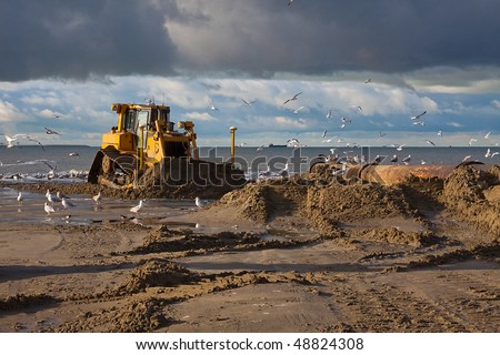 Bulldozer on a land reclamation project