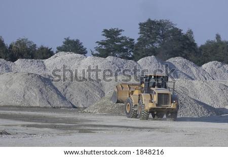 bulldozer on work - stock photo