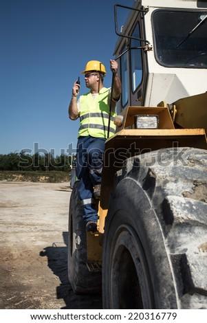 Bulldozer operator - stock photo