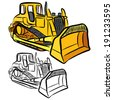 Bulldozer sketch on a white background. - stock vector