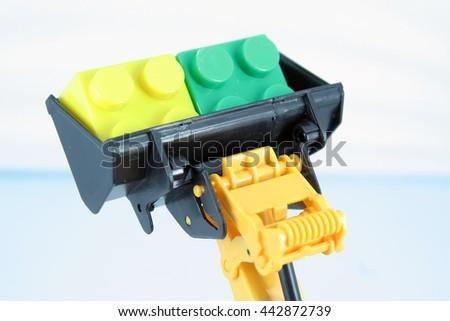Bulldozer toy bucket. - stock photo
