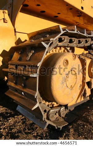 Bulldozer track in later afternoon light on a building site. - stock photo