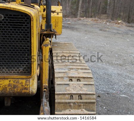 Bulldozer with copyspace on right - stock photo
