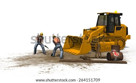 bulldozers and construction worker on construction site isolated on white background