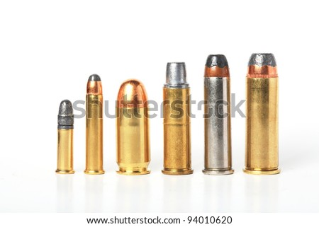 bullet- ammo size compare, isolated white. - stock photo
