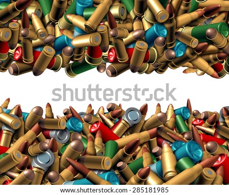 Bullet ammunition border isolated on a white background as a concept with a group of different calibre ammo representing the risk of violence and security social issues involving firearm weapons. - stock photo