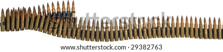 bullet belt isolated strip on white - stock photo