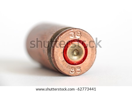 bullet case isolated closeup - stock photo