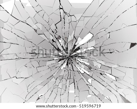 Bullet hole and pieces of shattered or smashed glass on black. 3d rendering 3d illustration