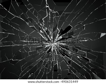 Bullet hole and pieces of shattered or smashed glass on white. 3d rendering 3d illustration