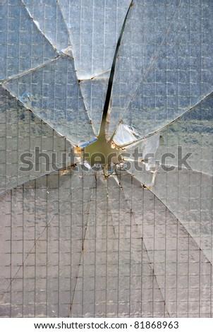 Bullet hole glass - stock photo