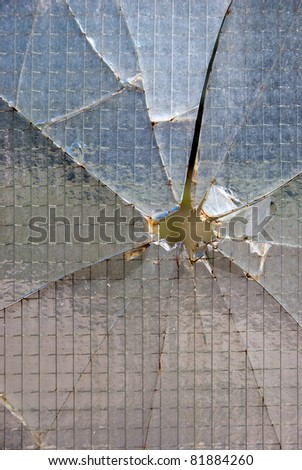 Bullet hole glass - stock photo