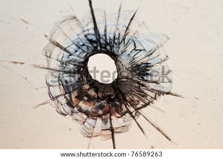 bullet hole in window - background - stock photo