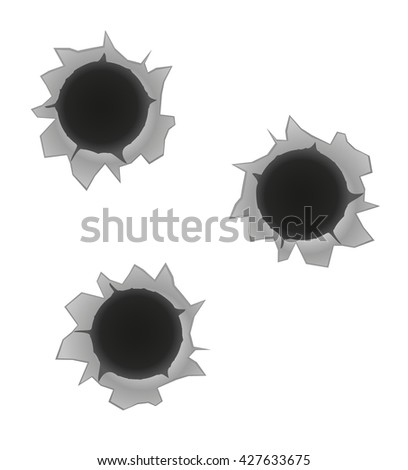 bullet holes illustration isolated on white background