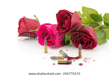 bullet on blood and red rose isolated on white background - stock photo
