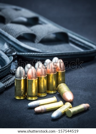 Bullet Pile for Pistol Gun - stock photo