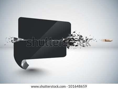 Bullet Sends a Shot Through a Speech Bubble - stock photo