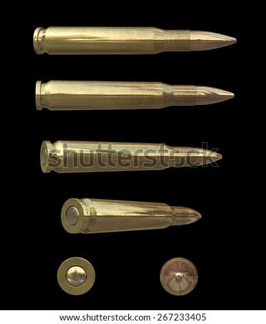Bullet set isolated on black background - stock photo