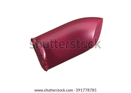 Bullet shaped pink lipstick on white background