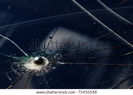 Bullet  shot   glass  broken - stock photo