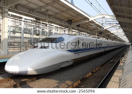bullet train in Japan - stock photo