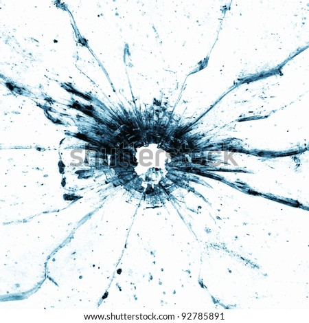 Bullethole in a window - stock photo