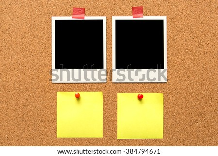 bulletin board and note papers with pins.