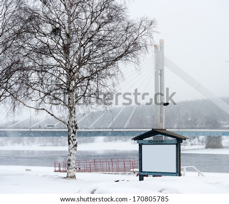 bulletin board in the snow  - stock photo