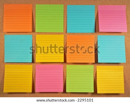 Bulletin Board Notes - stock photo