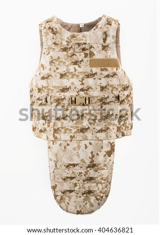Bulletproof vest and waist belt, body armor covers, Camouflage light brown - stock photo