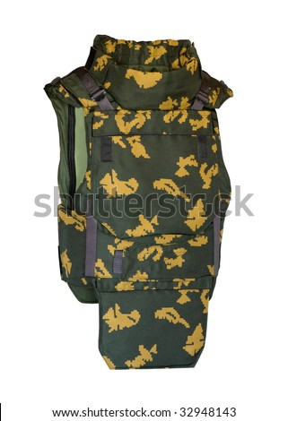 Bulletproof vest isolated on white with clipping path - stock photo