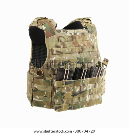 Bulletproof vest, Tactical body armor and bulletproof vests hidden with additional pockets, camouflage - stock photo