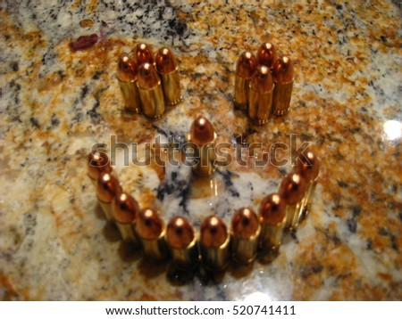 Bullets arranged as smiley
