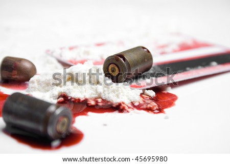 bullets, blood and cocaine - crime concept - stock photo
