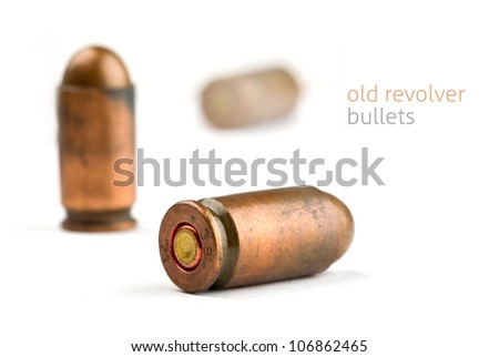 bullets case isolated closeup - stock photo