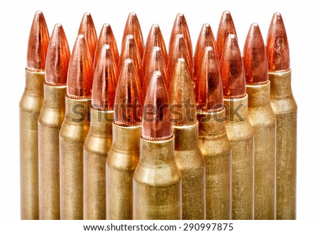Bullets close-up on white background. - stock photo