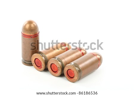bullets close up over white - stock photo
