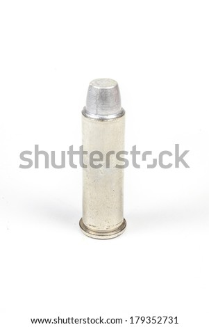 bullets for 38 revolver hand gun  on white background. - stock photo