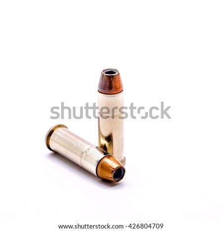 Bullets for 38 revolver handgun  isolated on white background - stock photo