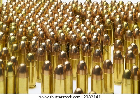 bullets handgun 9 mm para (isolated) - stock photo