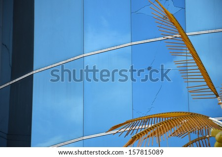 bullets in blue glass - stock photo