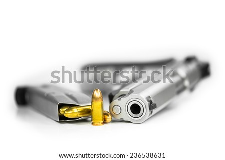 Bullets with Gun - stock photo