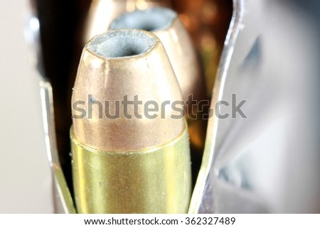 Bullets with gun clip - Gun rights concept - stock photo